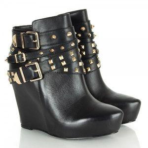 BCBGeneration Aspen black leather wedge boots